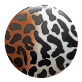Dill Buttons   Leopard Print   White and Brown Gradient   20mm