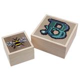 Trimits | Cross Stitch Trinket Box | Two Sizes with Cross Stitch Design Examples