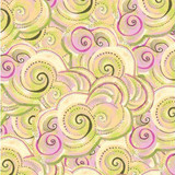 Sea Goddess | Laurel Burch | Clothworks Fabrics | 2602-60 | Pastel Waves, Dark Butter
