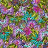 Sea Goddess | Laurel Burch | Clothworks Fabrics | 2599-55 | Florals, Multi-coloured