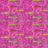 Sea Goddess | Laurel Burch | Clothworks Fabrics | 2600-74M | Big Fish, Raspberry, Metallic