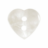 White Heart Buttons   Size 15mm