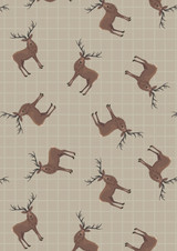 Celtic Coorie | Lewis and Irene | A417.1| Stags on beige check