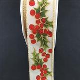 Prasent | Bristol Wire Edge | Holly Berries Ivory | 40mm | Half Metre Lengths