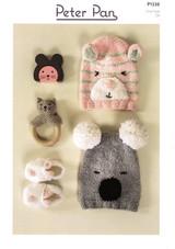 Peter Pan DK Pattern for Babies / Childrens Hats, Slippers & Socks in Binky DK | P1336