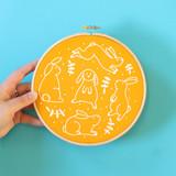 Hawthorn Handmade | Contemporary Embroidery Kit | Bouncing Bunnies