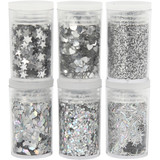 Creativ Company | Deco | Glitter and Sequins | Silver | 6 x 5g