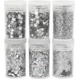 Creativ Company | Deco | Glitter and Sequins | Silver | 6 x 5g