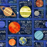 Lost In Space | Blank Quilting | EQS | BL9768-99 - Planets Facts Patch