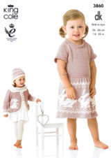 Baby / Childrens Dress, Cardigan, Hat & Blanket DK Pattern | King Cole DK 3860