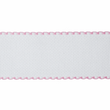 16 Count White Aida Canvas Band with Pink & White Edging | 50mm | Stitch Garden