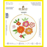DMC Complete Cross Stitch Kit with Embroidery Hoop | Japanese Flowers
