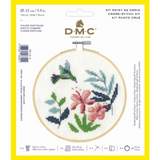 DMC Complete Cross Stitch Kit with Embroidery Hoop | Exotic Flowers Design