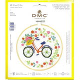 DMC Complete Cross Stitch Kit with Embroidery Hoop | Bicycle Design