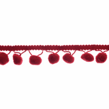 Essential Trimmings | Pom Pom Trim | 20mm | Per Half Mtr | Wine