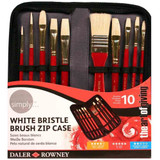 Simply Oil White Bristle Brush Zip Case, 10 Piece Brush Set | The Art Of Giving - Main image
