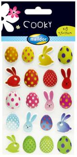 Cooky 3D Stickers | Easter | 20pcs | 7.5cm x 12cm Sheet | Maildor | Exaclair