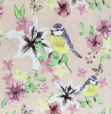 Watercolour Floral | Large Blue Tits | Fabric Freedom | FF165 | Pink