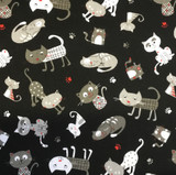 Cattery | NUTEX | Cat Print Fabric | 89350-101 | BLACK