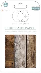 Craft Consortium   Decoupage Papers   35cm x 40cm   3 Sheets   Wood Cabin