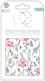 Craft Consortium | Decoupage Papers | 35cm x 40cm | 3 Sheets | Summer Meadow