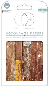 Craft Consortium | Decoupage Papers | 35cm x 40cm | 3 Sheets | Reclaimed Wood