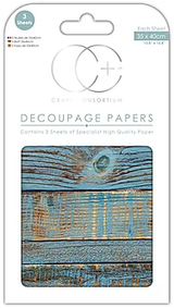 Craft Consortium | Decoupage Papers | 35cm x 40cm | 3 Sheets | Blue Brushed Wood