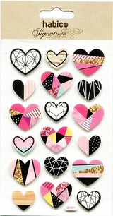 Foiled Heart Stickers | Puffy Stickers | Habico | Hearts Foiled