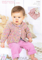 Baby / Childrens Cardigan & Blanket DK Pattern | Sirdar Snuggly Tiny Tots DK 1494 - Main Image