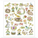 Bunnies & Birds Stickers | 34 pc Sticker Sheet | CC-Crafts