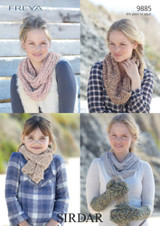 Girls / Ladies Scarves and Mittens Knitting Pattern | Sirdar Freya 9885