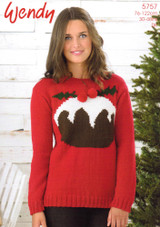 Wendy Mode DK Christmas Pudding Sweater Pattern | 5757 - Main image