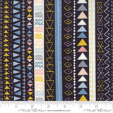 Wild & Free | Abi Hall | Moda Fabrics | 35314-12 | Zentangle Stripe Navy Background