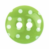 Plastic Polka Dot Button | 15mm | 2 Hole | Green/White