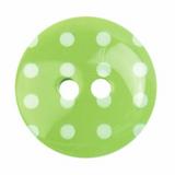 Plastic Polka Dot Button | 18mm | 2 Hole | Green/White