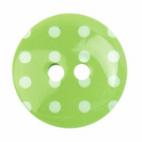 Plastic Polka Dot Button | 18mm | 2 Hole | Green/White