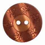 Polyester Round Leaves Button   23mm   2 Hole   Brown