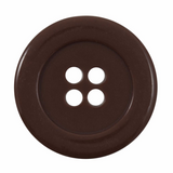 Broad Rimmed Button | 34mm | 4 Hole | Brown