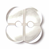 Polyester Flower Button | 14mm | 2 Hole | White