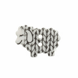 Knitted Sheep Button   18mm   2 Holes   White