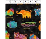 Mythical Jungle Fabric Collection   Laurel Burch   Jungle Animals, Black