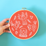 Hawthorn Handmade | Contemporary Embroidery Kit | Charming Chickens