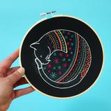 Hawthorn Handmade | Contemporary Embroidery Kit | Black Cat