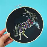 Hawthorn Handmade | Contemporary Embroidery Kit | Black Unicorn
