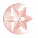 Round Star Buttons   15 mm   Peach Pink (A0031)