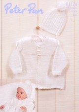 Baby Cable Edged Jacket and Bobble Hat DK Pattern | Peter Pan DK 1176