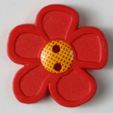 Pretty Daisy Buttons - 20 mm | Bright Red | Dill