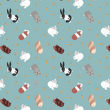 Small Things... Pets   Lewis and Irene   SM27.2   Rabbits on Turquoise Blue