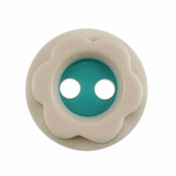 Mounted Flower Buttons | 10 mm | Turquoise & Cream (A2787)