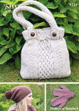 Mitts, Hat and Bag Aran Knitting Pattern | Twilleys 9211